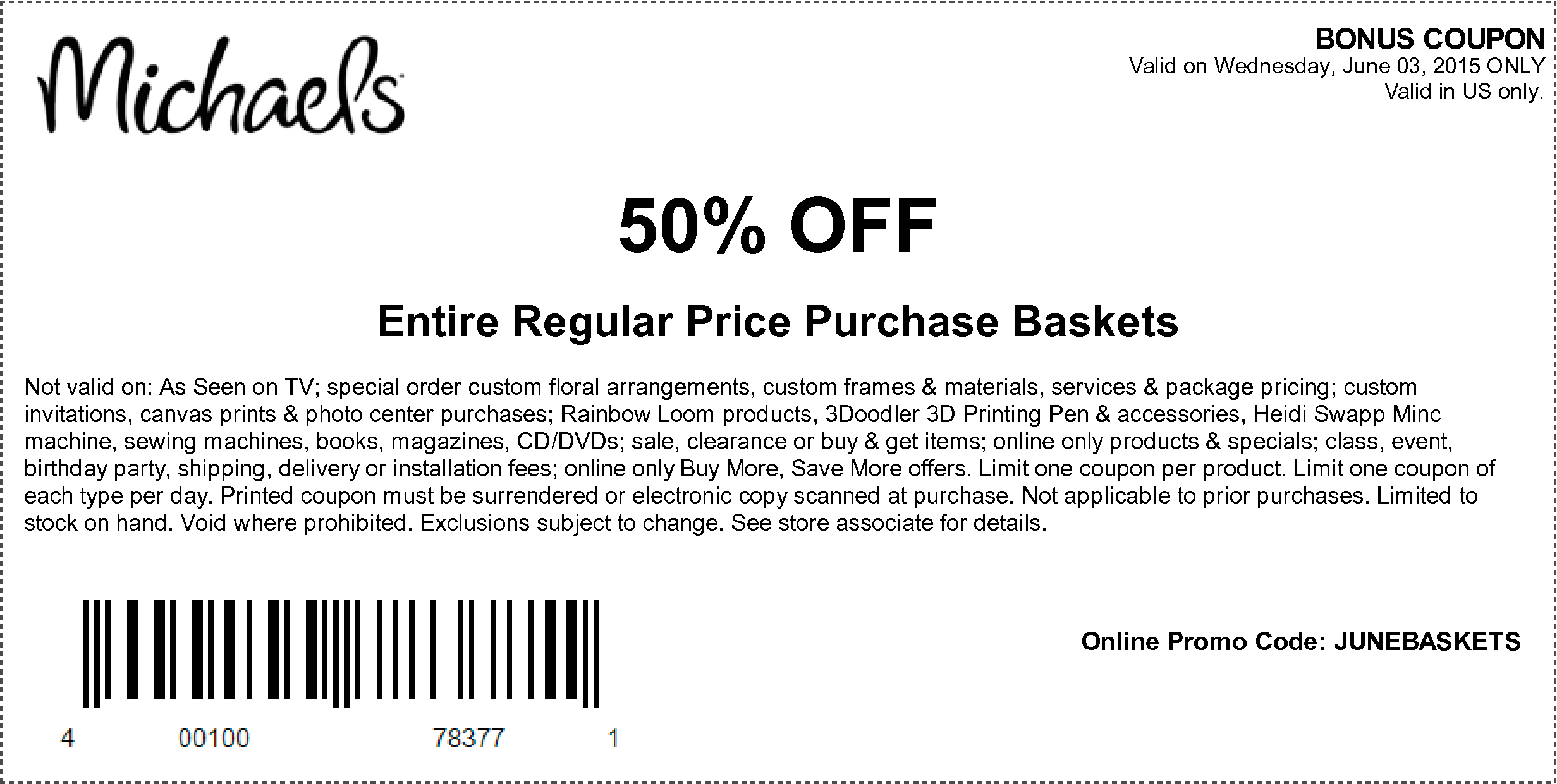Michaels Craft Store  Percent Off Coupon